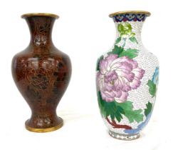 """2 Cloisonne vases largest measures approx 10"""" tall"""
