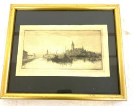 """Vintage signed engraving framed measures approx 11"""" tall by 13"""" wide"""
