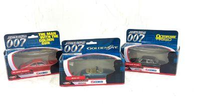 Selection of boxed Corgi 007 cars, Mercedes Saloon ty05702, AMC hornet hatchback ty07101, BMW Z3