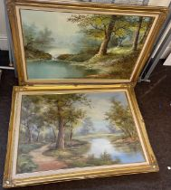 2 Large framed signed paintings, Artist C. Inness and I. Cafieri approximate size of frame: Width 41