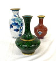 "3 Cloisonne vases largest measures approx 8"""