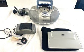 Alba portable CD player, without power lead, 2 alba radios, portable DVD player no lead, all