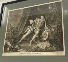 2, 18th century framed prints, largest frame approximate frame measurements: Height 24 inches, Width