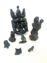 Selection of composite figures and wooden tribal mask