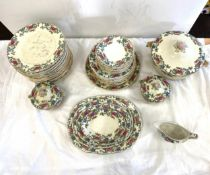"""Selection of booths """"floradora"""" part dinner service includes plates, meat plates, tureens etc"""