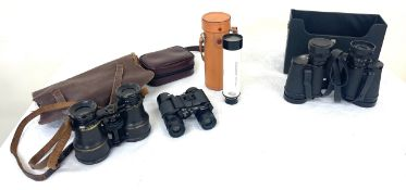 Selection of items to include Boots 8 x 30 field binoculars, swift binoculars, vintage pair of