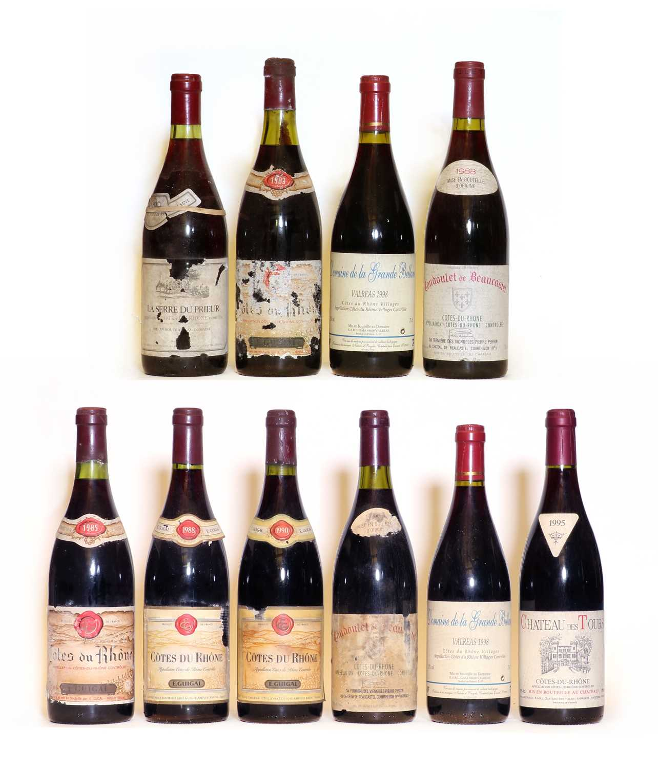 Assorted Cote du Rhone: Chateau des Tours, E. Reynaud, 1995, one bottle and nine various others