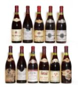 Assorted Red Burgundy: Pommard, 1er Cru, Les Jarollieres, 1982, two bottles and nine various others