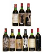 Assorted Red Bordeaux: Chateau Bourgneuf, Pomerol, 1982, one bottle and eight various others
