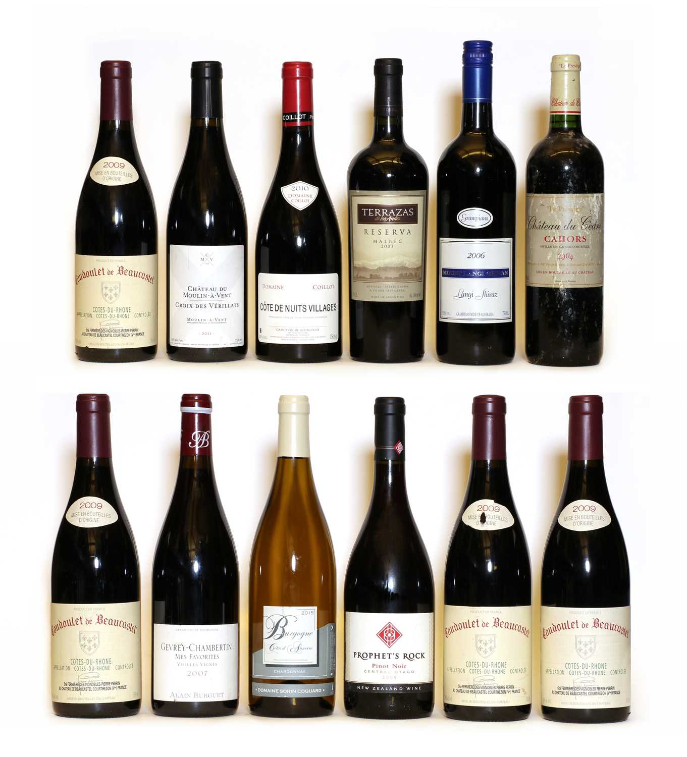 Assorted wine: Pinot Noir, Prophets Rock, Central Otago, 2009, one bottle and 12 various others