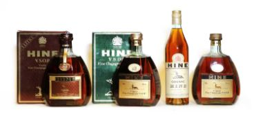 Hine, Fine Champagne VSOP Cognac, 1970s bottling, 40% vol, 100cl, two bottles and two others