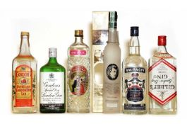 Assorted Spirits: Gilbeys, London Dry Gin, 1980s bottling and five various others