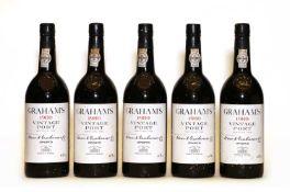 Grahams, Vintage Port, 1980, five bottles