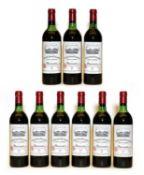 Chateau Grand Puy Lacoste, 5eme Cru Classe, Pauillac, 1982. nine bottles