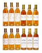 Assorted 2007 sweet wine to include Ch Climens, Ch Rieussec and others, 12 half bottles in total