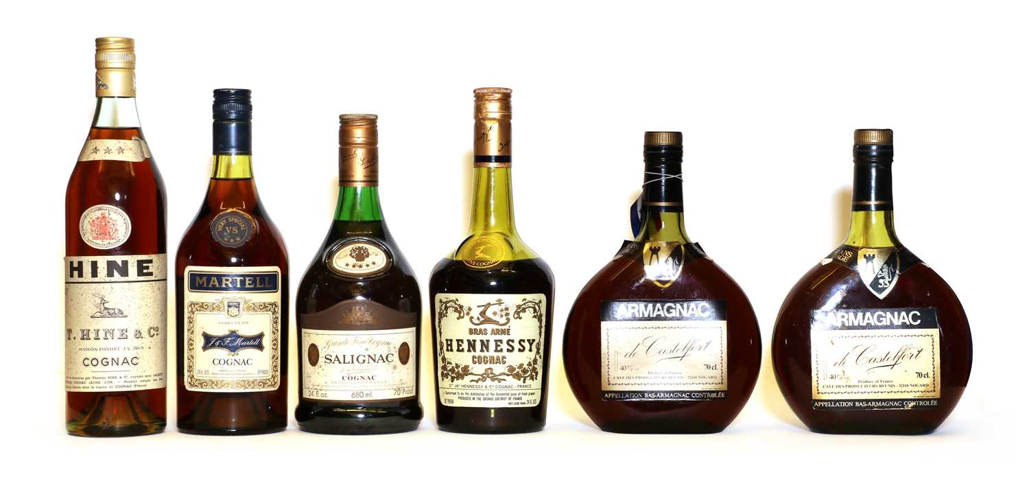 Assorted Brandy: Hine, Three Star Cognac, 1970s, 24 fl. ozs, one bottle and four various others