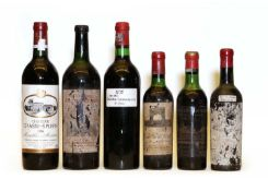 Assorted Bordeaux: Ch Grand Puy Lacoste,Pauillac, 1962, one bottle and five variously sized others
