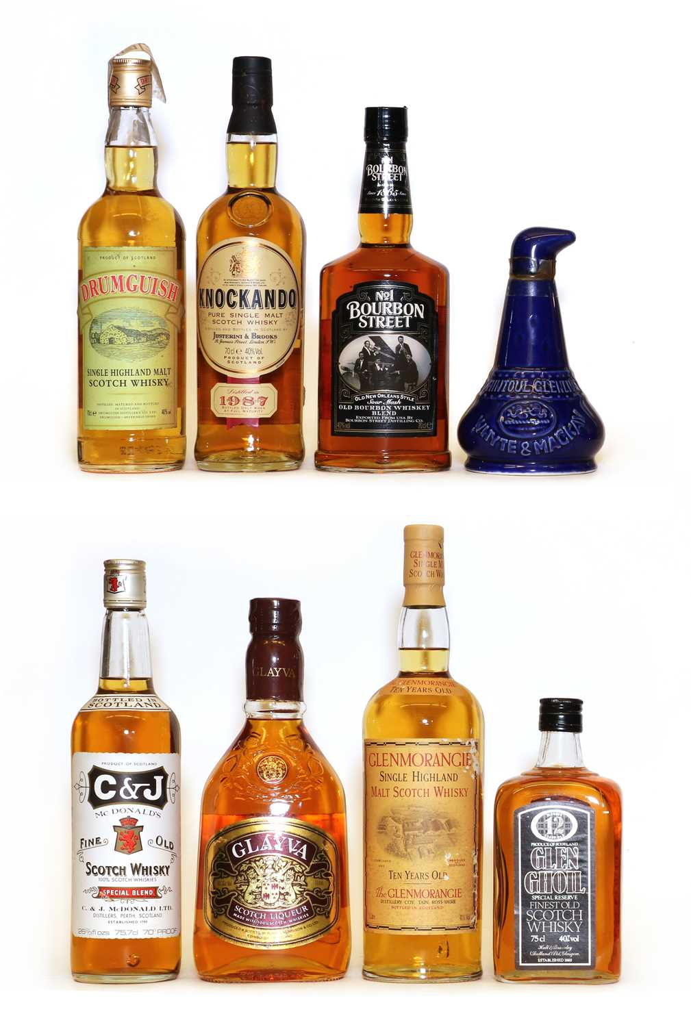 Assorted whisky: Knockando, Pure Single Malt Scotch Whisky, one bottle and seven various others