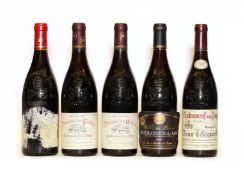 Assorted Chateauneuf-du-Pape: Domaine du Caillou, 1996, two bottles and three various others