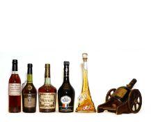 Assorted Cognac: Courvoisier, VSOP Liqueur Cognac, 1970s bottling, one bottle and 5 various others