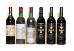 Assorted Pomerol: Chateau du Domaine de l'Eglise, Pomerol, 1986, three bottles and 3 various others