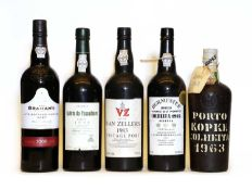 Assorted Vintage Port:: Kopke, Colheita Port, 1963, one bottle and four various others