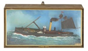 A cased diorama of a trawler 'LT289' by J Crowfoot, Beccles, Suffolk