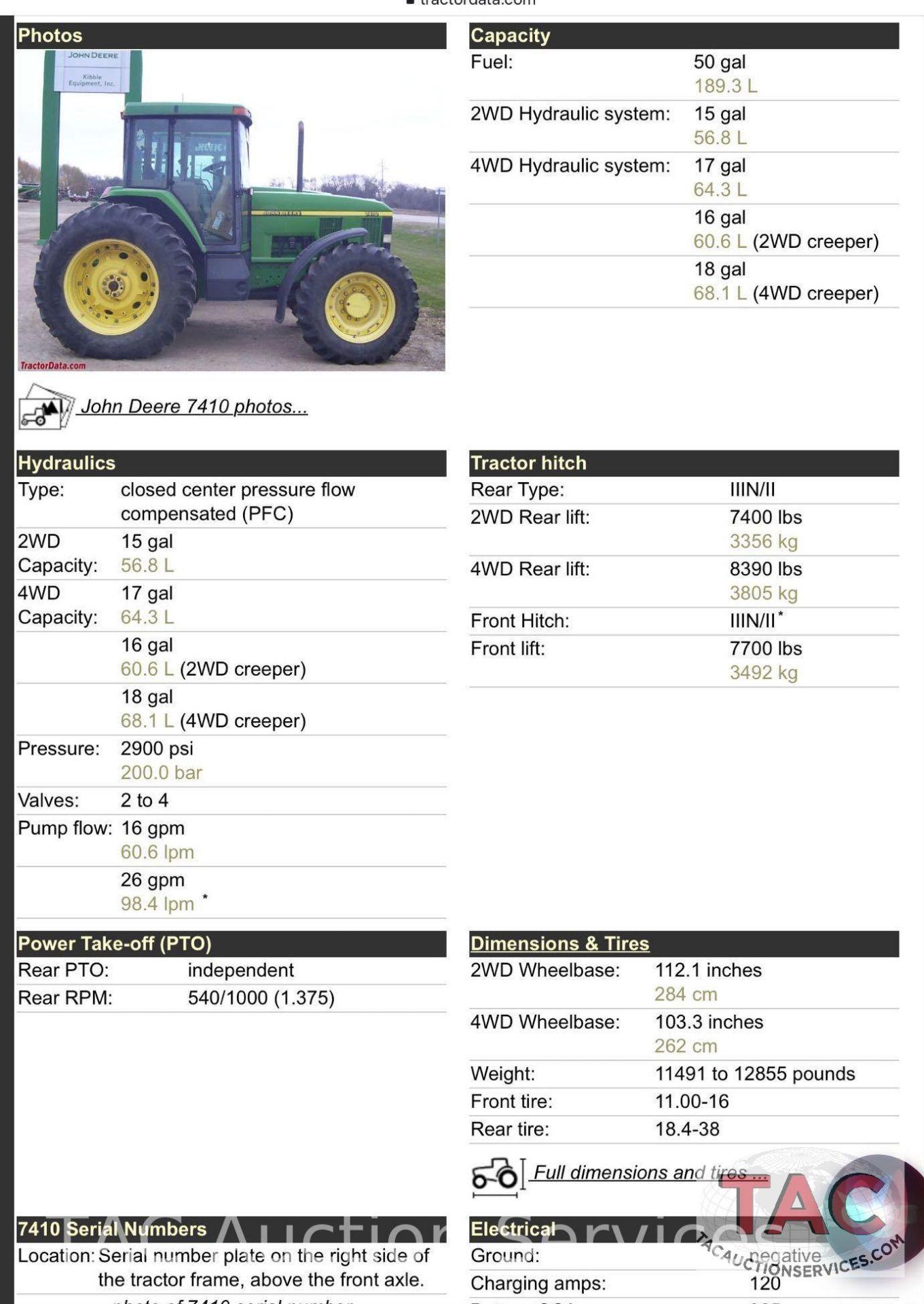 John Deere 7410 Farm Tractor - Image 23 of 24