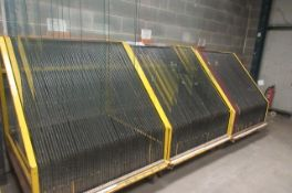 Four mobile 60 space glass transportation racks. Size 1300 x 1300 x 1500mm high.