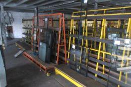 Five static 'A' framed glass storage racks. Size 2.4m x 1.2m x 1.6m high.