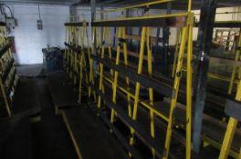 Four static 'A' framed glass storage racks. Size 2.4m x 1.2m x 1.6m high.