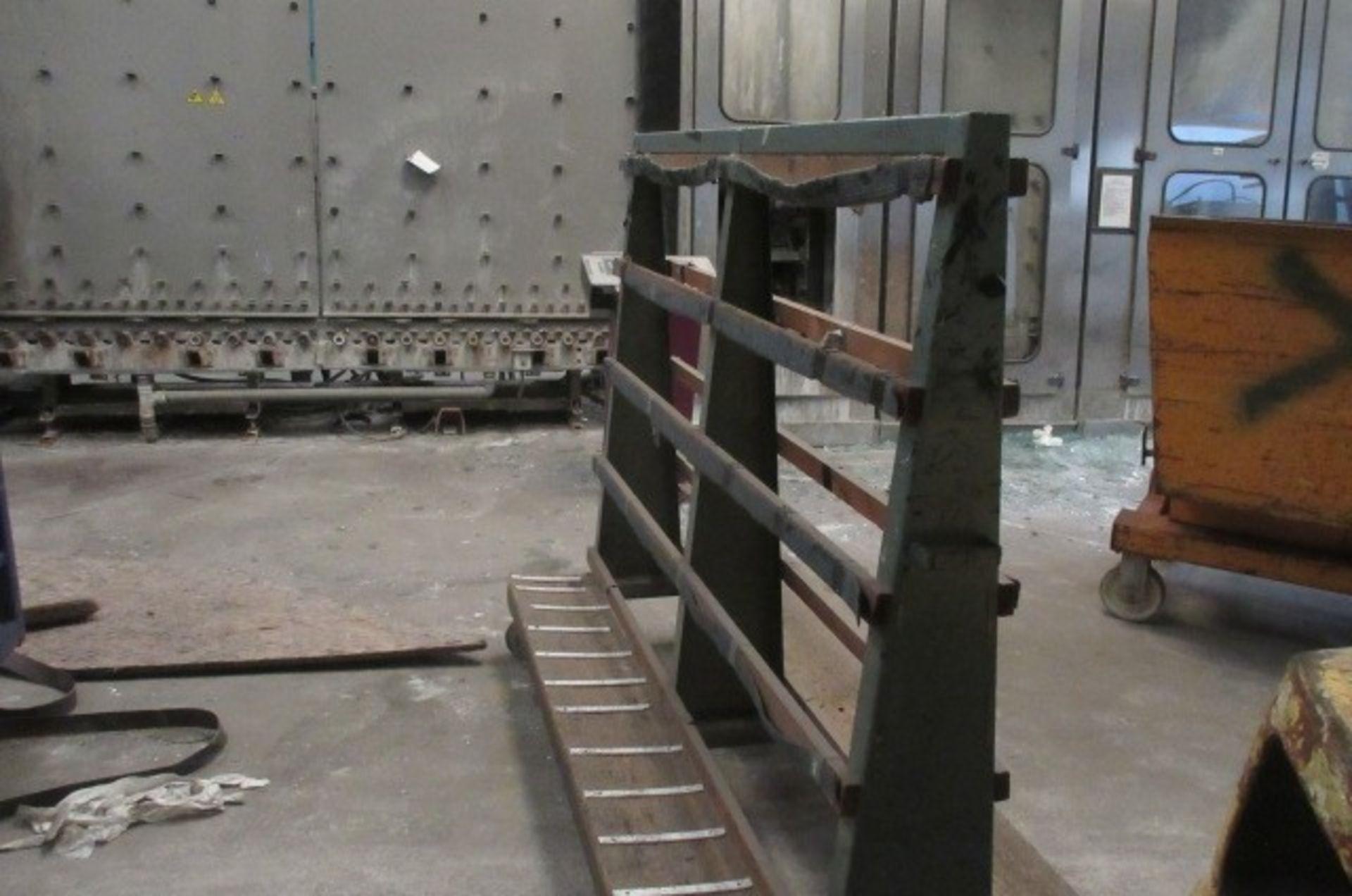 Five 'A' Framed double sided glass transportation racks. Qty 4 size 2m x 1m x 1.6m high & Qty 1 size
