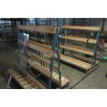Five static 'A' framed glass storage racks. Size 1.4m x 0.9m x 1.2m high.