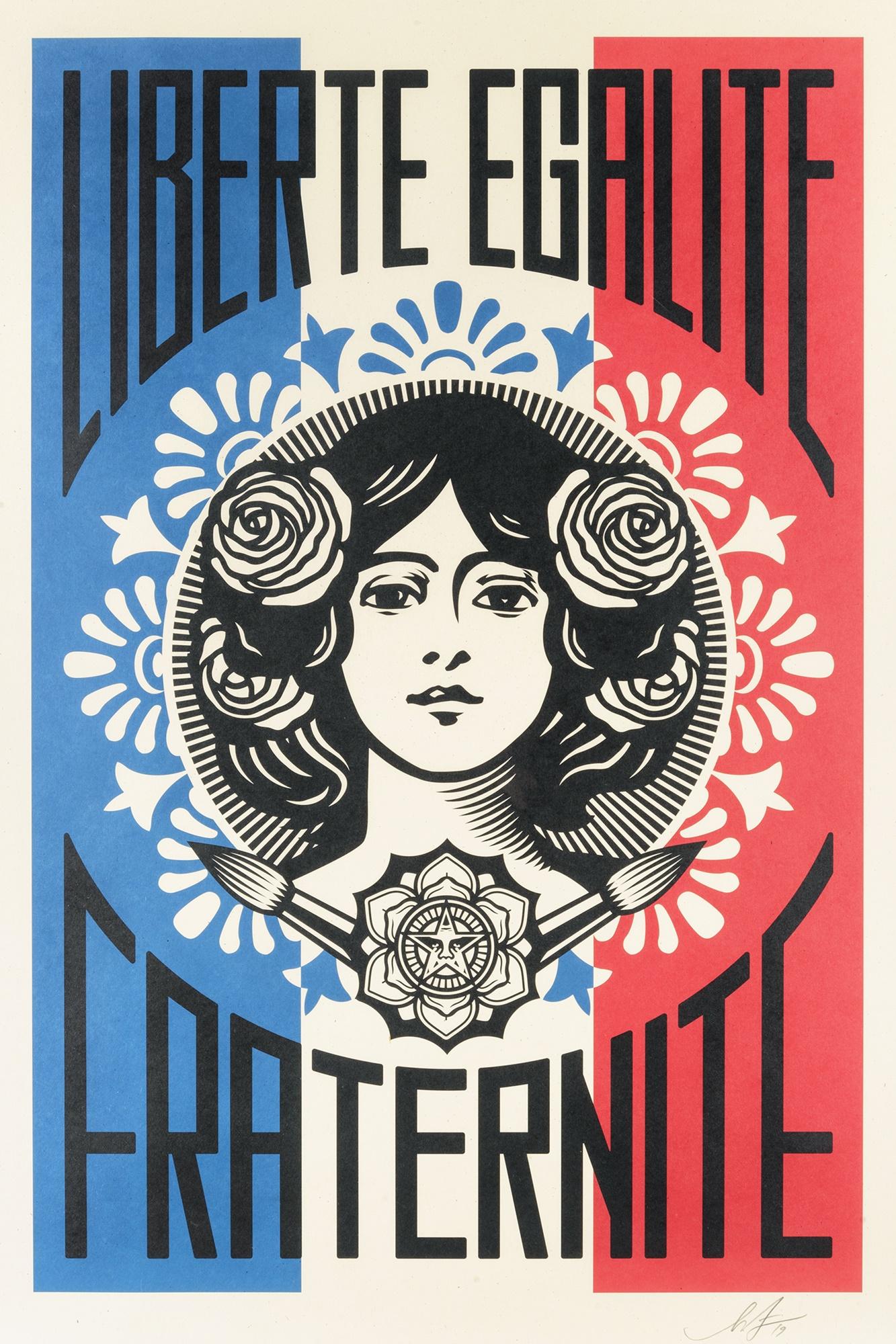 Shepard Fairey (American 1970-), 'Liberte, Egalite, Fraternite', 2018