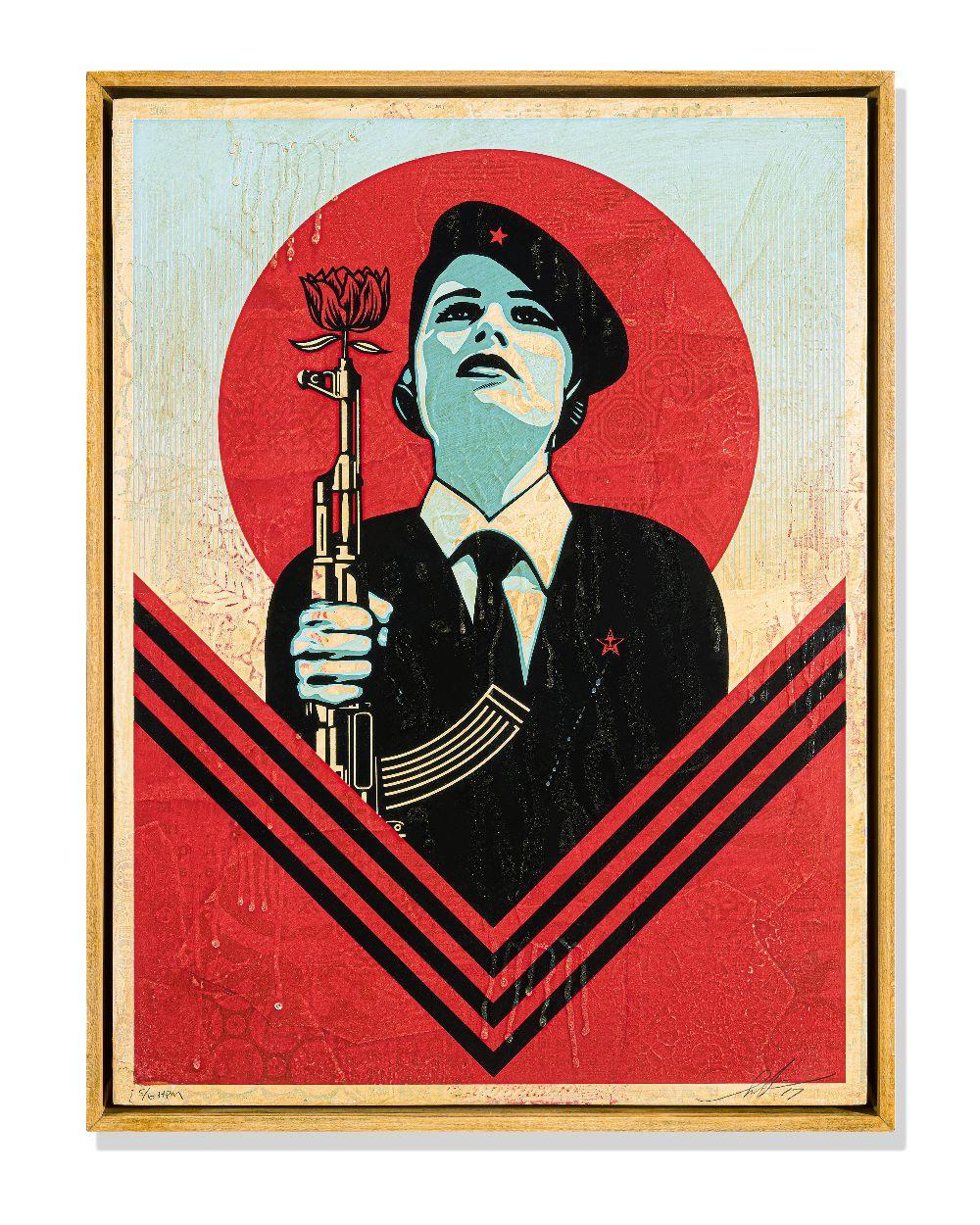 Shepard Fairey (American 1970-), 'Peace Guard 2 (HPM)', 2016