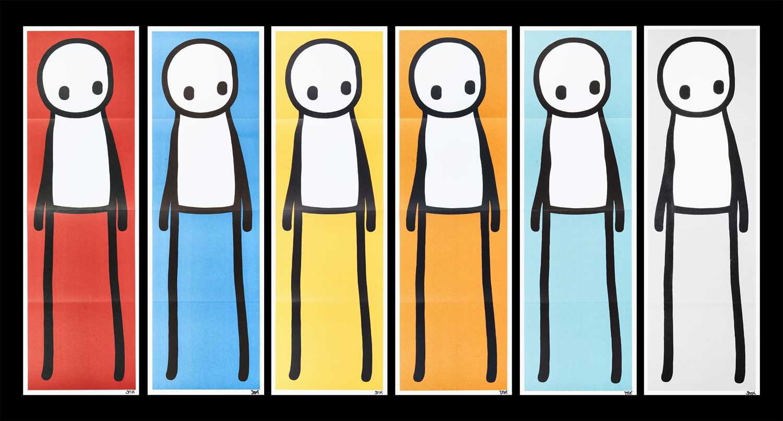 Stik (British 1979-) 'Standing Figure (Book) (Red, Blue, Yellow, Orange, Teal & Grey)', 2015