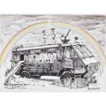 Banksy (British 1974-), 'Police Riot Van (Dismaland Gift Print)', 2015