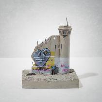 Banksy(British1974-),'WalledOffHotel-Three-PartSouvenirWallSectionWithWatchTower(LoveHurts)'