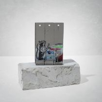 Banksy(British1974-),'WalledOffHotel-Three-PartSouvenirWallSection(SlingshotRat)'