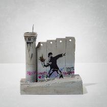 Banksy(British1974-),'WalledOffHotel-FourPartSouvenirWallSectionWithWatchTower(FlowerThrower)'
