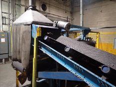 "Raoul Lenoir suspended magnetic belt conveyor, approx. 32"" x 14' w/ approx. 16"" x 12' take-away belt"