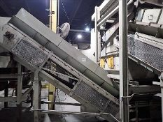 """Inclined conveyor, approx. 26"""" x 18', power, fluted belt (Subject to confirmation. The winner will"""