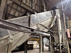 """Inclined conveyor, approx. 32"""" x 32', power (no belt) (Subject to confirmation. The winner will be"""