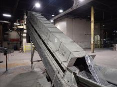 """Inclined conveyor, approx. 32"""" x 24', power, fluted belt (Subject to confirmation. The winner will"""