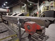 """Sorting line belt conveyor, approx. 24"""" x 24', power c/w work platform (Subject to confirmation. The"""