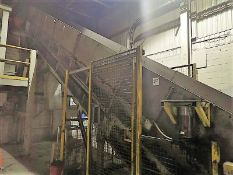 """Inclined infeed conveyor, approx. 40"""" x 60', power, fluted belt (Subject to confirmation. The winner"""