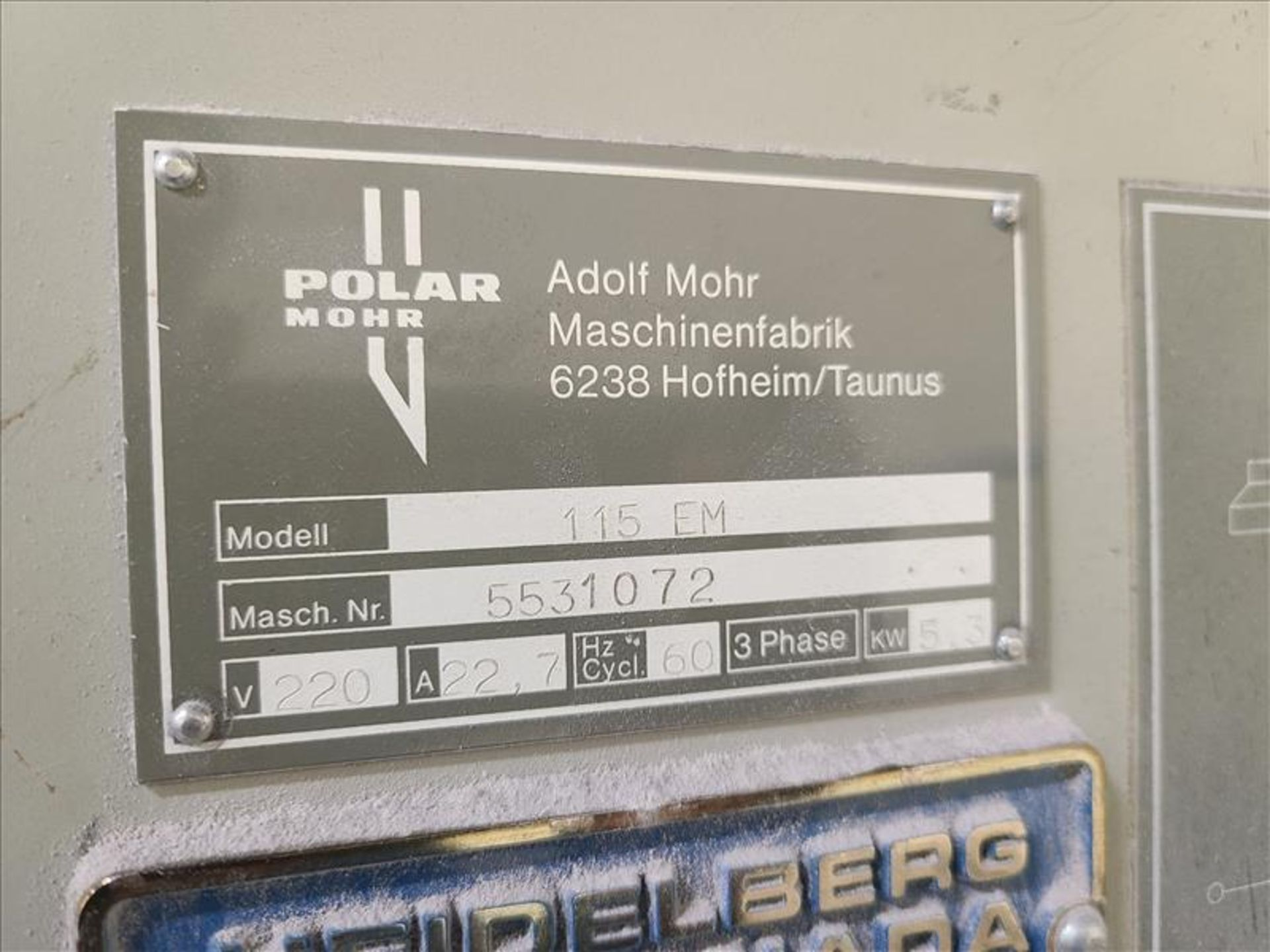 Polar Mohr Guillotine, model 115 EM, S/N. 5531072 (1985) w/4' infeed, 220V, 22.7 amps, 3 Phase - Image 3 of 3