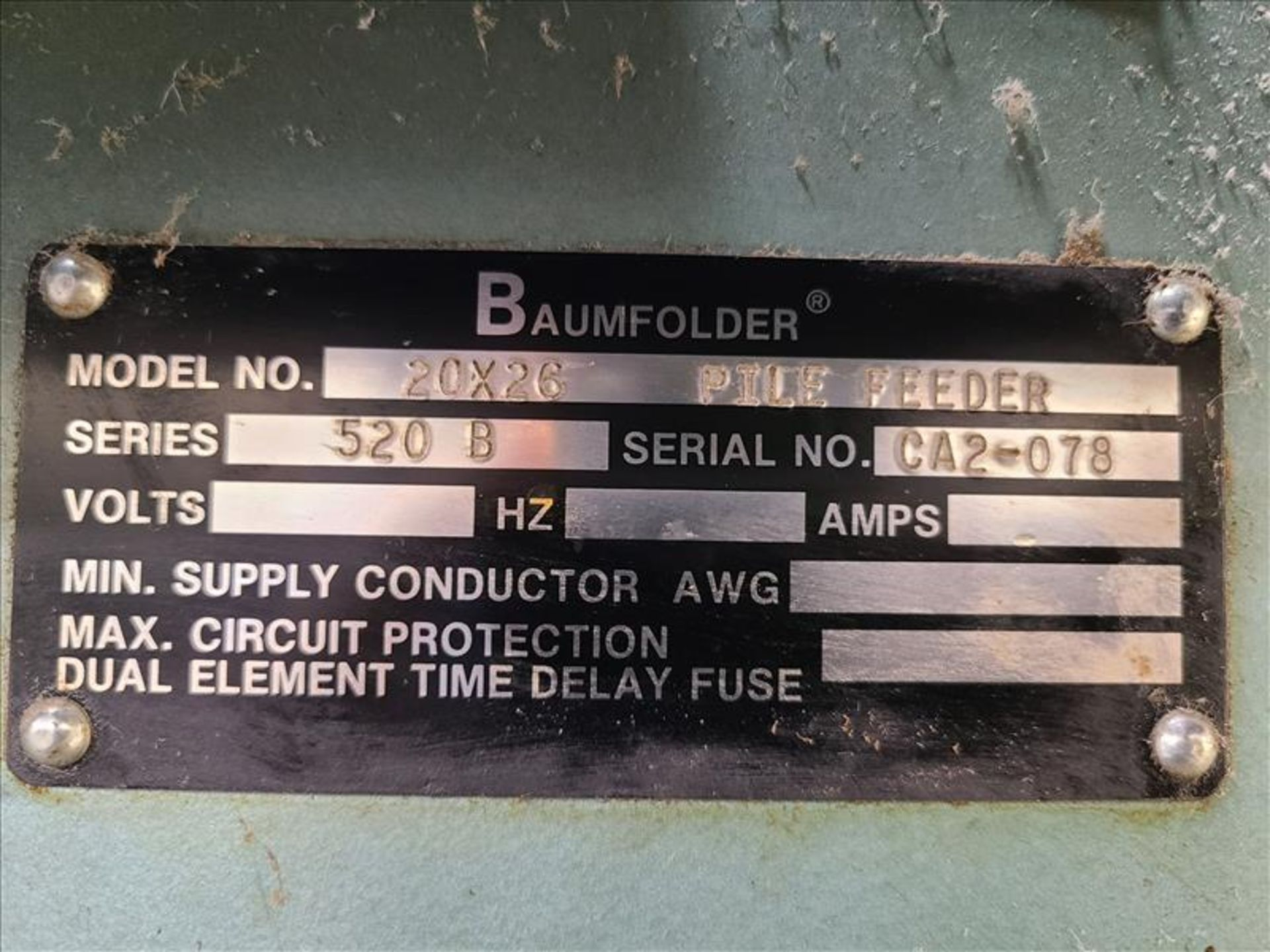 Baumfolder Pile Feeder, series 520 B, model 48994-001, S/N. CA2-078 208-230V, 3 Phase, 14 amps c/w - Image 5 of 6