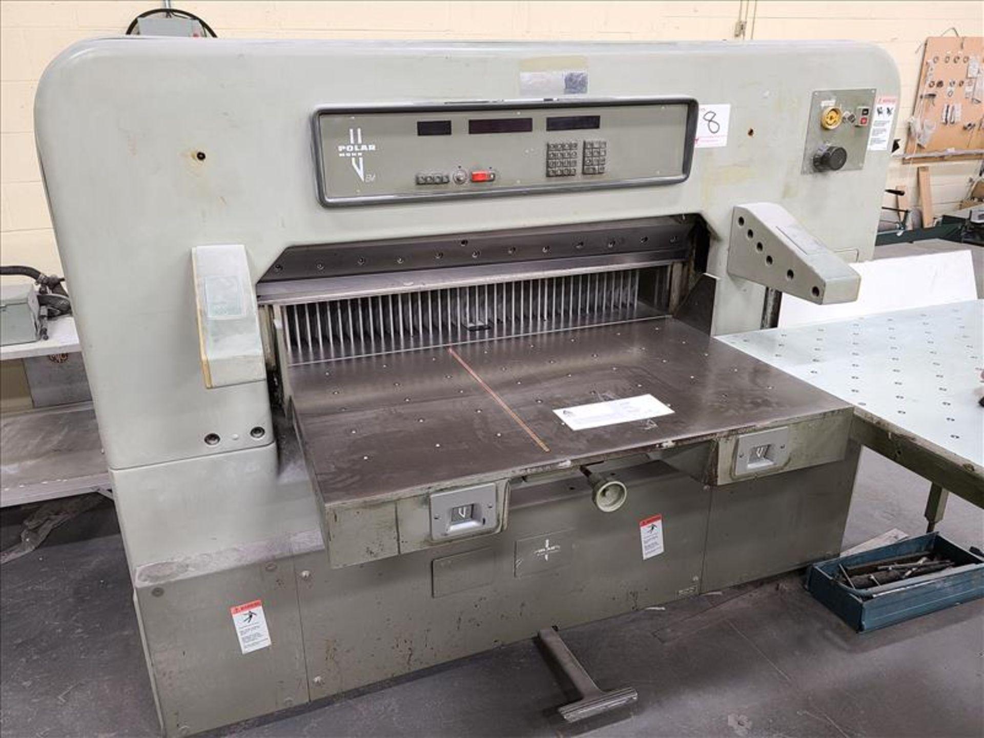 Polar Mohr Guillotine, model 115 EM, S/N. 5531072 (1985) w/4' infeed, 220V, 22.7 amps, 3 Phase