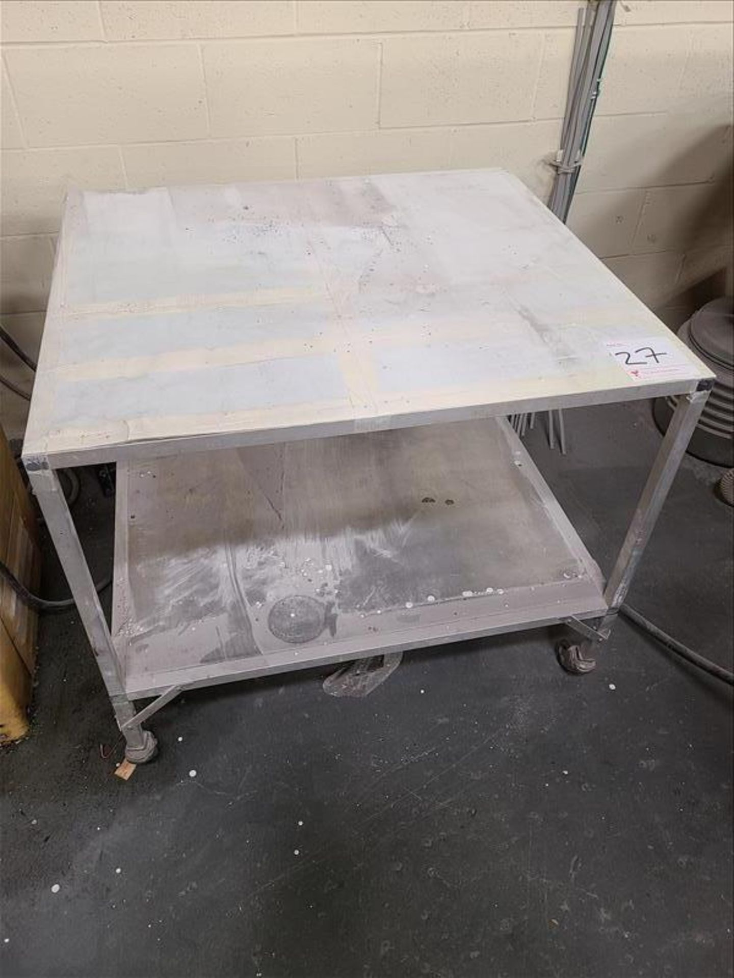 """Rolling Table on casters, 36"""" x 32"""" x 32"""""""